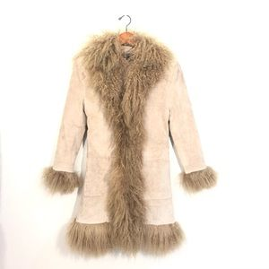 3 Sisters Outerwear Goat Fur 100% Leather Coat S